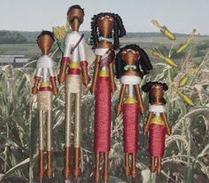 Thready or Knot: tooth pick dolls