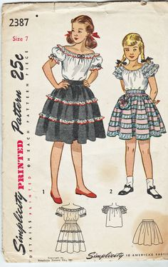 Simplicity 2387; ©1948; Girls' Hispanic Style Peasant Blouse and Skirt, Size 7, FF - New Vintage Studio