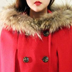 Red Riding Hood Winter Cape w/ Fur Size: Small to medium Worn twice, like new Retail: $180  This red cape coat is a real cutie! Makes you feel like a sexy red riding hood ❤️  • High quality red wool  • Real raccoon fur trim on the hood. The fur is very luxuriant and soft. Very warm!  • Features double breasted button Ribbon Jackets & Coats Capes