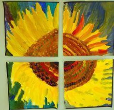 Auringonkukka yhdistettynä neljän tekijän työstä.