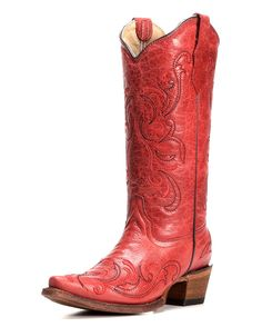 Corral | Women's Circle G by Corral Cowhide Red Snip Toe Cowgirl Boot with Embroidery - L5129 | Country Outfitter
