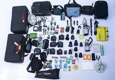 This photo shows what Sports Illustrated photographer Simon Bruty packed for the Rio 2016 Olympic games, the 8th Summer Games he has…