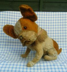 Huge Steiff Bully brown and white mohair french bulldog vintage dog - button