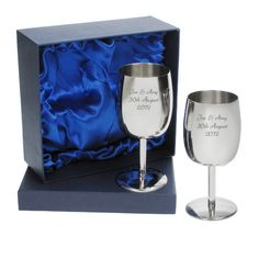 Engraved Silver Plated Wine Goblets in Gift Box