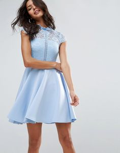 dfe06a6c26 ASOS High Neck Mini Skater Dress With Lace Top – Blue Lace Overlay Dress