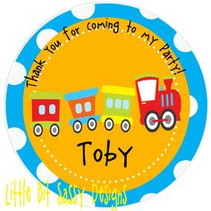 Train Birthday Round Labels Boys Choo Choo Train Birthday Party Favors Stickers. $5.00, via Etsy.