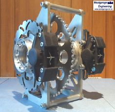 Westgarage Engineering WGATB chain drive unit with outputs for Lobro OD CV joints, twin 220 or disc rotors, twin Brembo twin-pot) calipers, pivot carrier. Go Kart Buggy, Off Road Buggy, Kart Cross, Homemade Go Kart, Go Kart Plans, Twin Disc, Diy Go Kart, Karts, Sand Rail