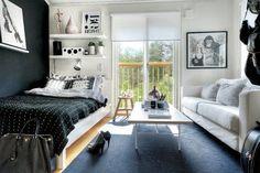 Set up a small student room - interior design examples Small Space Living, Small Rooms, Small Spaces, Living Spaces, Living Room, Student Apartment, Apartment Design, Apartment Living, Student Room