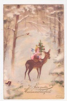 Christmas Angel w Xmas Tree and Deer