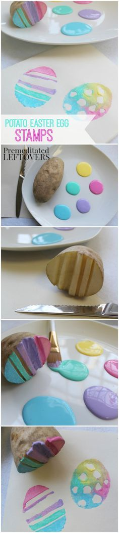 Handmade Potato Easter Egg Stamps for Kids- Grab a potato and make these DIY Easter egg stamps. Kids will love painting with this fun and frugal craft! crafts daycare easter DIY Potato Easter Egg Stamps for Kids Easter Projects, Easter Crafts For Kids, Toddler Crafts, Diy For Kids, Infant Crafts, Easter Stuff, Bunny Crafts, Art Projects, Easter Art