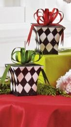 Our fanciful Harlequin Gift Boxes may not be for giving, but they are for creating a fun and fabulous new addition to your Christmas traditions.