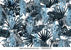 Blue dark floral pattern leaves background. Palm leaf and banana leaves tropical flowers strelizia. Watercolor painting tropical leaves illustration seamless pattern.