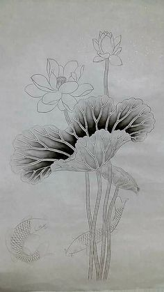 Fabric Painting, Painting & Drawing, Watercolor Paintings, Korean Painting, Chinese Painting, Bottle Drawing, Flower Mural, Gold Leaf Art, Lotus Art