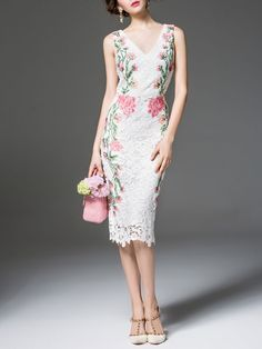 Gorgeous White Floral V neck Sleeveless Bodycon Sexy Floral-embroidered Lace Midi Dress V Neck Midi Dress, White Midi Dress, Lace Sheath Dress, Floral Midi Dress, Floral Lace, Floral Embroidery Dress, Embroidered Lace, Mode Inspiration, Couture Dresses