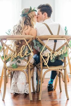 HEXAGON WEDDING CHAIR SIGNS GEOMETRIC STYLE FOR BRIDE AND GROOM WEDDING CHAIRS, HEXAGON CALLIGRAPHY
