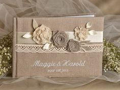 Wedding Guest Book Guestbook Lace Shabby Chic by forlovepolkadots Jute Crafts, Diy And Crafts, Kalender Design, Fabric Postcards, Graduation Diy, Wedding Photo Albums, Diy Wedding Projects, Vintage Crafts, Pretty Cards