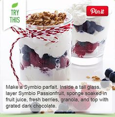 Make a Symbio parfait. Inside a tall glass, layer Symbio Passionfruit, sponge soaked in fruit juice, fresh berries, granola, and top with grated dark chocolate.
