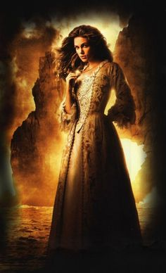 Keira Knightley, in a gown of pale gold brocade and lace, as Elizabeth Swann in Pirates of the Caribbean: Curse of the Black Pearl. Keira Christina Knightley, Keira Knightley, Captain Jack Sparrow, Elisabeth Swan, Pirates Gold, On Stranger Tides, Images Disney, Fantasy Gowns, The Costumer