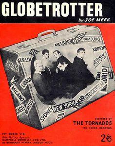 The Tornados: Globetrotter by Joe Meek Tornados, Teenage Years, Vintage Posters, Sheet Music, Musicals, Nostalgia, Music Posters, Swings, 1960s
