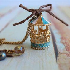 pastel carousel enamel charm pendent