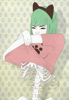 skeleton kitty cat green hair girl