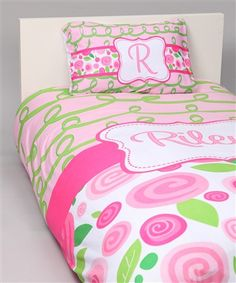 Hot Pinks, Blues, Yellow and Lime Green stripes and polka dots for a teen girls room, college dorm room or young girls room will a sophisticated statement with a duvet and matching pillowcase. Customize your colors and designs-over 100 choices.