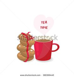 Red cup with cakes, Tea time - stock vector