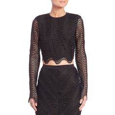 Bec & Bridge Mon Amour Long-Sleeve Mesh Cropped Top (750 VEF) ❤ liked on Polyvore featuring tops, apparel & accessories, black, black long sleeve top, long sleeve mesh top, black open back top, mesh crop top and mesh top