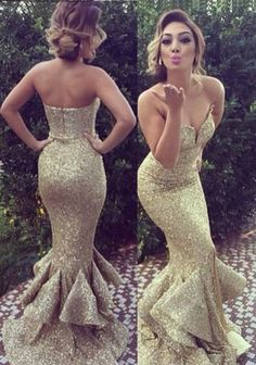 Prom dress,Prom dress 2016,Gold Prom dress,Sequins prom dress,Sweetheart prom dress,mermaid prom dress,Mermaid Prom Gowns Sweep Train Pageant Dress Blingbling Party Dress