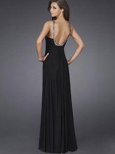 2012 Spring Style Sheath / Column V-neck  Beading  Sleeveless Floor-length Chiffon Black Prom Dress / Evening Dress (SZ015160 )
