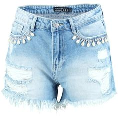 Boohoo Helen Crystal Embellished Denim Hotpants   Boohoo ($21) ❤ liked on Polyvore featuring shorts, sequin hot pants, hot pants, hot shorts, mid length shorts and sequin shorts