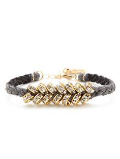 Braided Leather & Crystal Bead Bracelet by Ettika Jewelry at Gilt