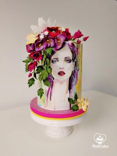 Birthday cake fondant woman flowers wafer paper 30 New ideas Funny Birthday Cakes, Funny Cake, Birthday Cakes For Women, Cake Birthday, Pretty Cakes, Beautiful Cakes, Cake Story, Hand Painted Cakes, Gateaux Cake
