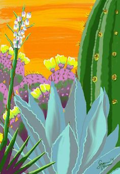 Cactus Garden stretched canvas print in by DesertRidgePortraits