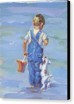 Boy And His Dog Print Canvas Print featuring the painting Every Puppy Needs A Boy by Lucelle Raad