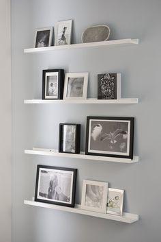 Image for Regal Fotoleiste Bilderleiste Wandregal 80 x 9 cm | schwarz, weiß