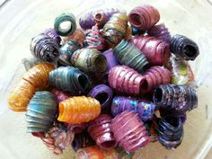 Plastic bottle beads (use for decorations on tassels or binding of mini albums)
