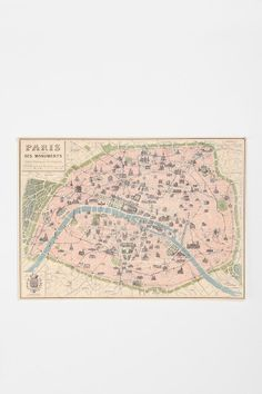 I love maps and Paris, so of course I had to buy this.  It hangs above my bed, and below my  dreamcatcher... Paris Map Poster #UrbanOutfitters #smallspace