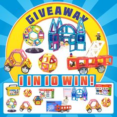 Enter to win a $150 grand prize of magnetic tiles, great for teaching shapes, colors, symmetry, architecture, and engineering.    1 in every 10 entries will win a set . . . I know, crazy right?!?  The giveaway ends on 6/25.