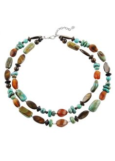 Turquoise, caramel mother of pearl, bronzite, horn and wood beads Necklace Barse Jewelry