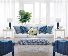 """Fab room by @thibaut_1886 featuring our side tables and lamps! #madeinamerica #blueandwhite"""