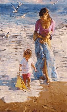 Precious Moment a Garmash Original Painting available from J Watson Fine Art 661 your source for beautiful Michael and Inessa Garmash original paintings and limited edition artwork. Art Plage, Galerie D'art, Art Abstrait, Beach Art, Mother And Child, Fine Art Gallery, Beautiful Paintings, Oeuvre D'art, Figurative Art