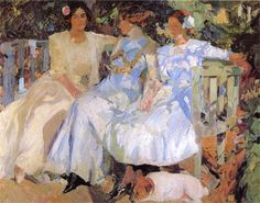 Page: My Wife and Daughters in the Garden  Artist: Joaquín Sorolla  Completion Date: 1910  Place of Creation: Spain  Style: Impressionism  Genre: portrait  Technique: oil  Material: canvas  Dimensions: 166 x 206 cm  Gallery: Private Collection