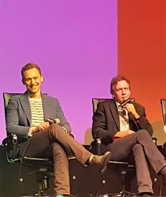"""Tom Hiddleston and Hugh Laurie at the Emmy FYC """"The Contenders"""" event at the DGA Theater, April 10, 2016. Source: https://www.instagram.com/p/BECAfKFKQWE/"""