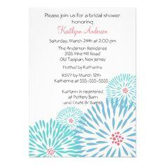 Trendy Blue Flower Bridal Shower Invitation