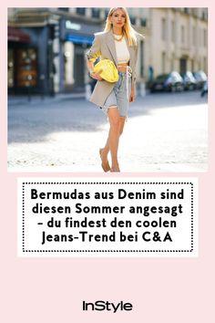 Bermudas aus Denim sind diesen Sommer angesagt. Den coolen Jeans-Trend findest du jetzt bei C&A und wir verraten, wie du ihn stylst #instyle #instylegermany #denim #trend #sommer Jeans Trend, C & A, Overall, Denim Jeans, Trends, Fashion, Bermudas, The Cool, Summer