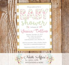 Elegant Shabby Chic Light Pink Tan Gold Watercolor flowers Baby Shower invitation - Modern Watercolor Girl Baby Shower - no color changes by NotableAffairs