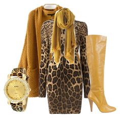 Mustard and Leopard by baggheera on Polyvore featuring mode, Dolce&Gabbana, Moschino and XOXO