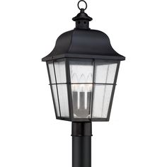 Illuminate your exterior with the Millhouse hanging lantern from Quoizel. The mystic black finish gives the lantern a bold feel that will complete your outside area.