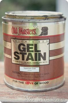 old masters gel stain-no need to sand completely to re-stain wood Old Masters Gel Stain, Paint Stain, Stain Wood, Oak Bathroom, Bathrooms, Oak Cabinets, Kitchen Cabinets, Bathroom Cabinets, Do It Yourself Baby